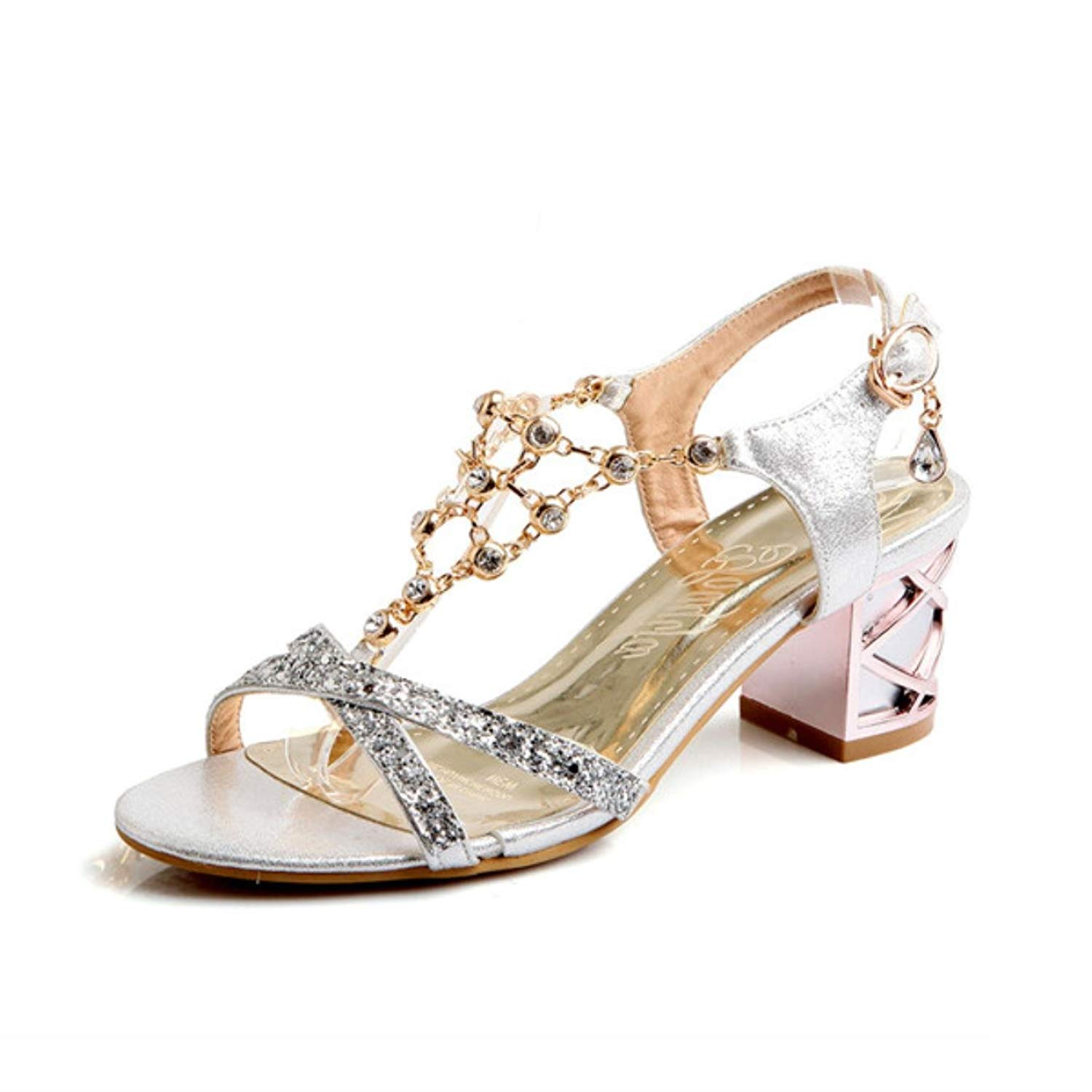 Get Quotations · Fashion Crystal Ladies Sandals Summer Open Toe T-Strap  Party Thick Medium Heels Rhinestone Gold 3bc56af7a724