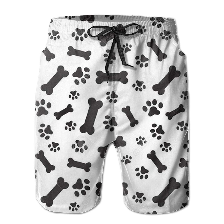 WIHVE Mens Beach Swim Trunks Cartoon Dog Cute Bone Boxer Swimsuit Underwear Board Shorts with Pocket
