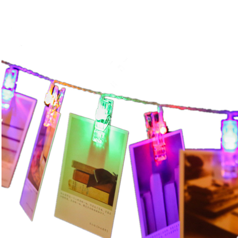 solar power led clip string light in holiday light mini running photo clip light for home decoration