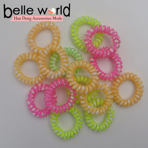 Candy color Telephone Wire Line Small Size Hair Ring Print Plastic Elastic Hair Band For Girls