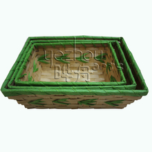 Promotional Rectangle Bamboo Empty Gift Baskets