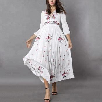 5dbf85c13cfe9 Verano boho estilo de encaje de manga larga-impresión Floral Maxi vestido  largo