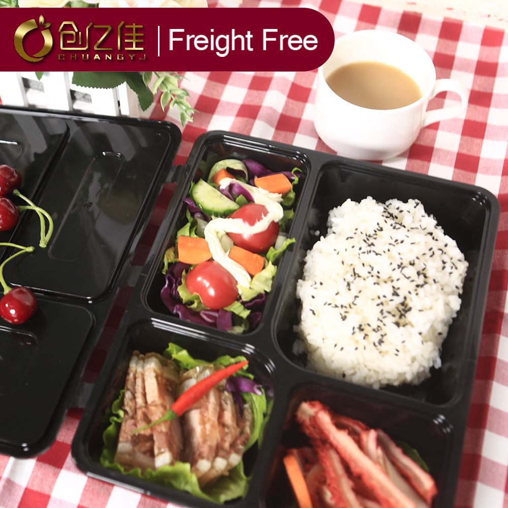 Eco- friendly Disposable <strong>Plastic</strong> Take Away 4-compartment Bento pp box