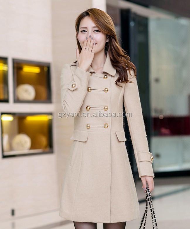 Women Long Trench Coats Korean Fashion Yellow Women Winter Coats