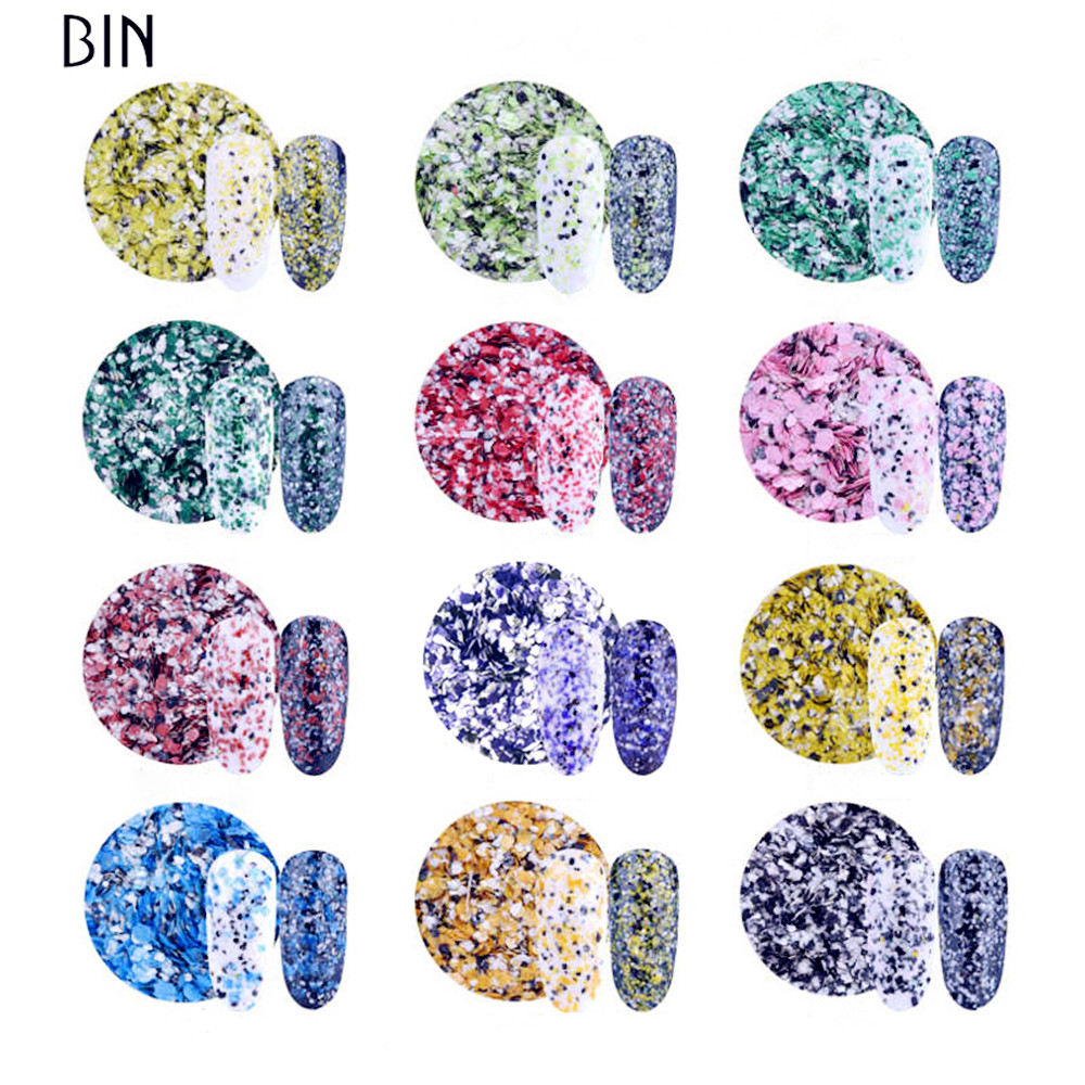 New & Hot Shinning Nail Paillette Marble Nail Art Glitter Flakes