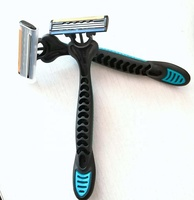 Long Rubber Handle Hair Shaving Razor High Quality Disposable Razor With Trimmer