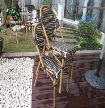 Outdoor Garden Furniture Metal Bamboo Looking French Bistro Patio Wicker  Rattan Chair
