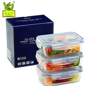 Glass Meal Prep Containers - Food Storage To Go for Home & Kitchen ( 28 oz ) 6pcs set