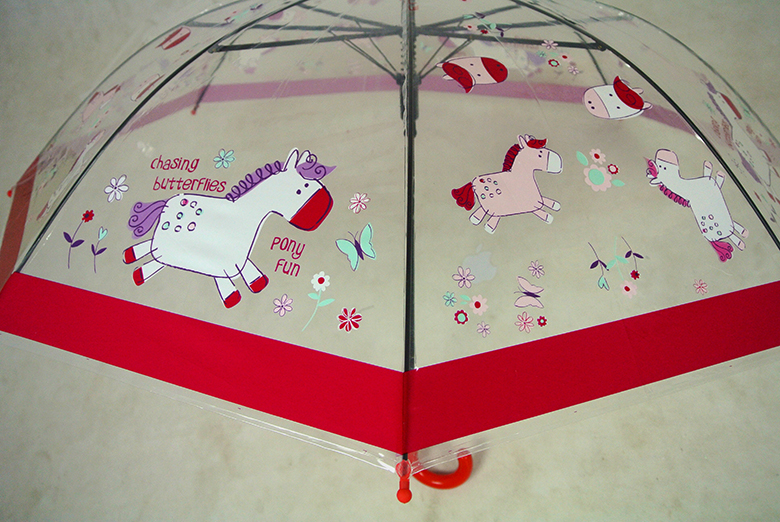 2019 promotional custom design transparent print umbrella for kids
