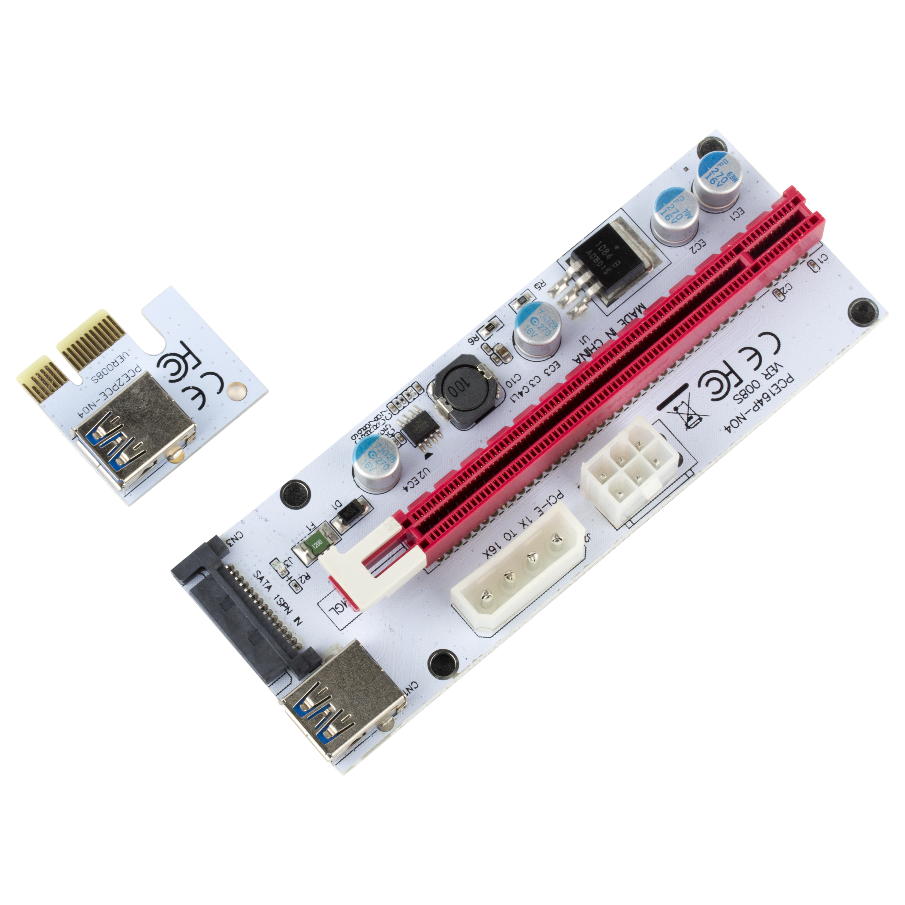 x1 PCIe to Dual PCIe x16 2 Slots Adapter Card PCI-Express Riser