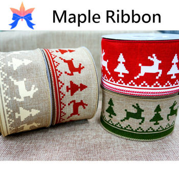 2015 reindeer wired christmas ribbon - Wired Christmas Ribbon