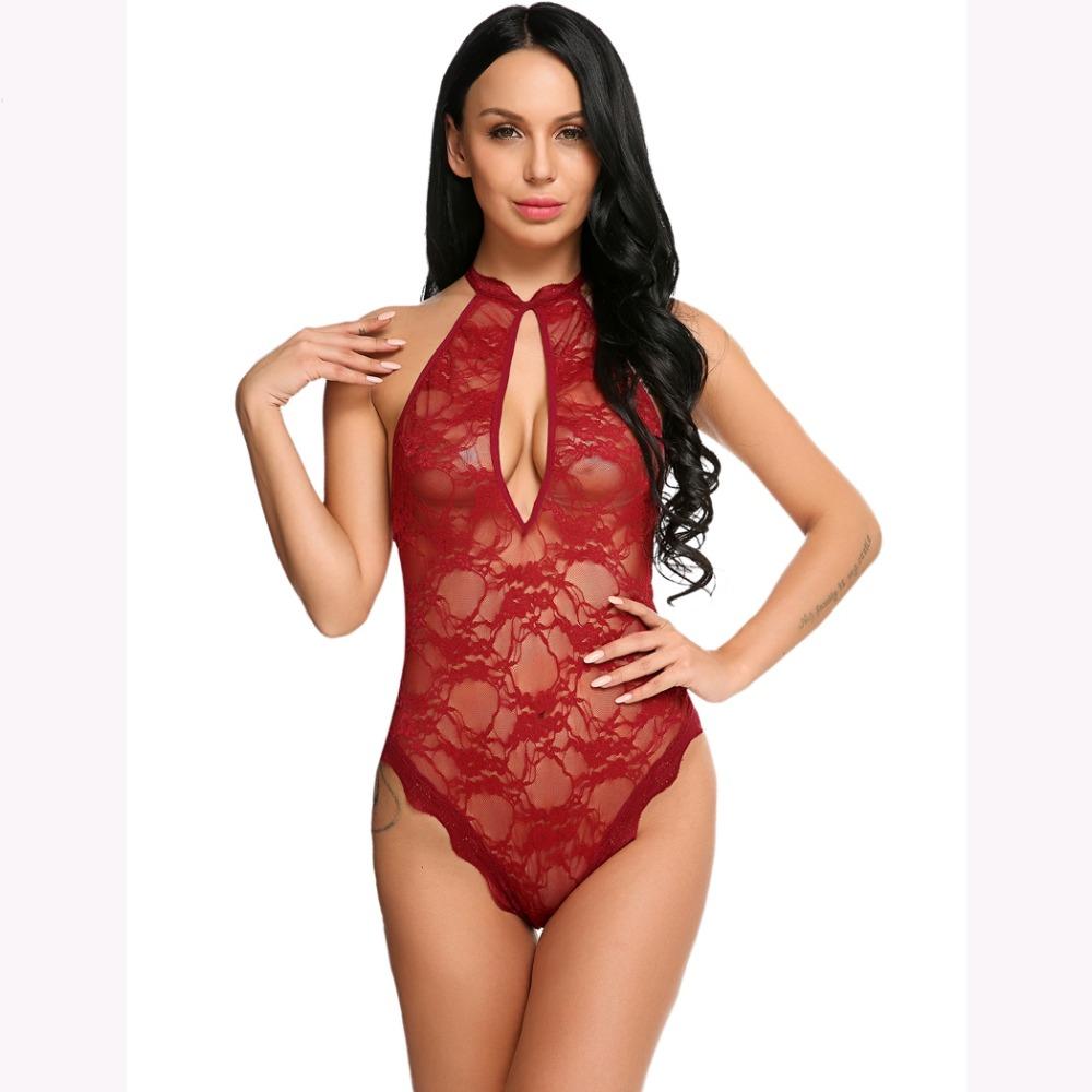 Halter Sleeveless Bodycon Jumpsuit Romper Elegant Floral Lace Bodysuit Women 62530db1e