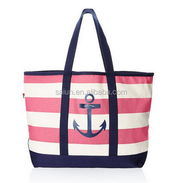Large size Zipper closure waterproof canvas Beach Bag with outside pockets