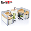 Melamine l shaped glass cabin call center office partition wall