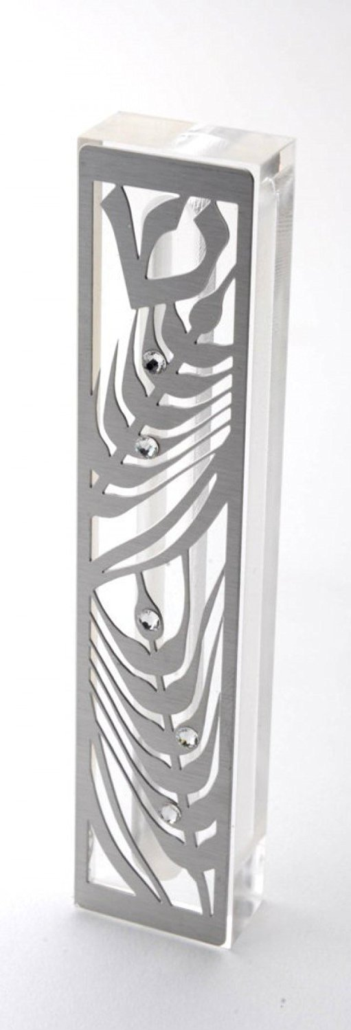 Dorit Judaica Mezuzah Case MZN-3 for 12cm scroll Perspex base cut out Stainless Steel with Swarovski Stones