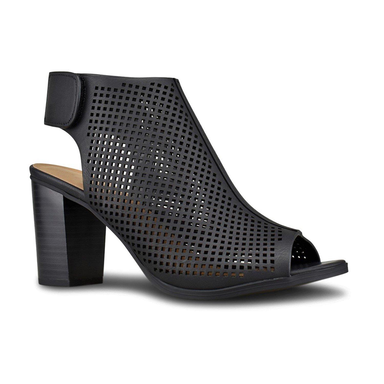 Premier Standard - Women's Cut Out Strap Bootie - Slip On Low Stacked Heel - Open Peep Toe Cutout Shoe