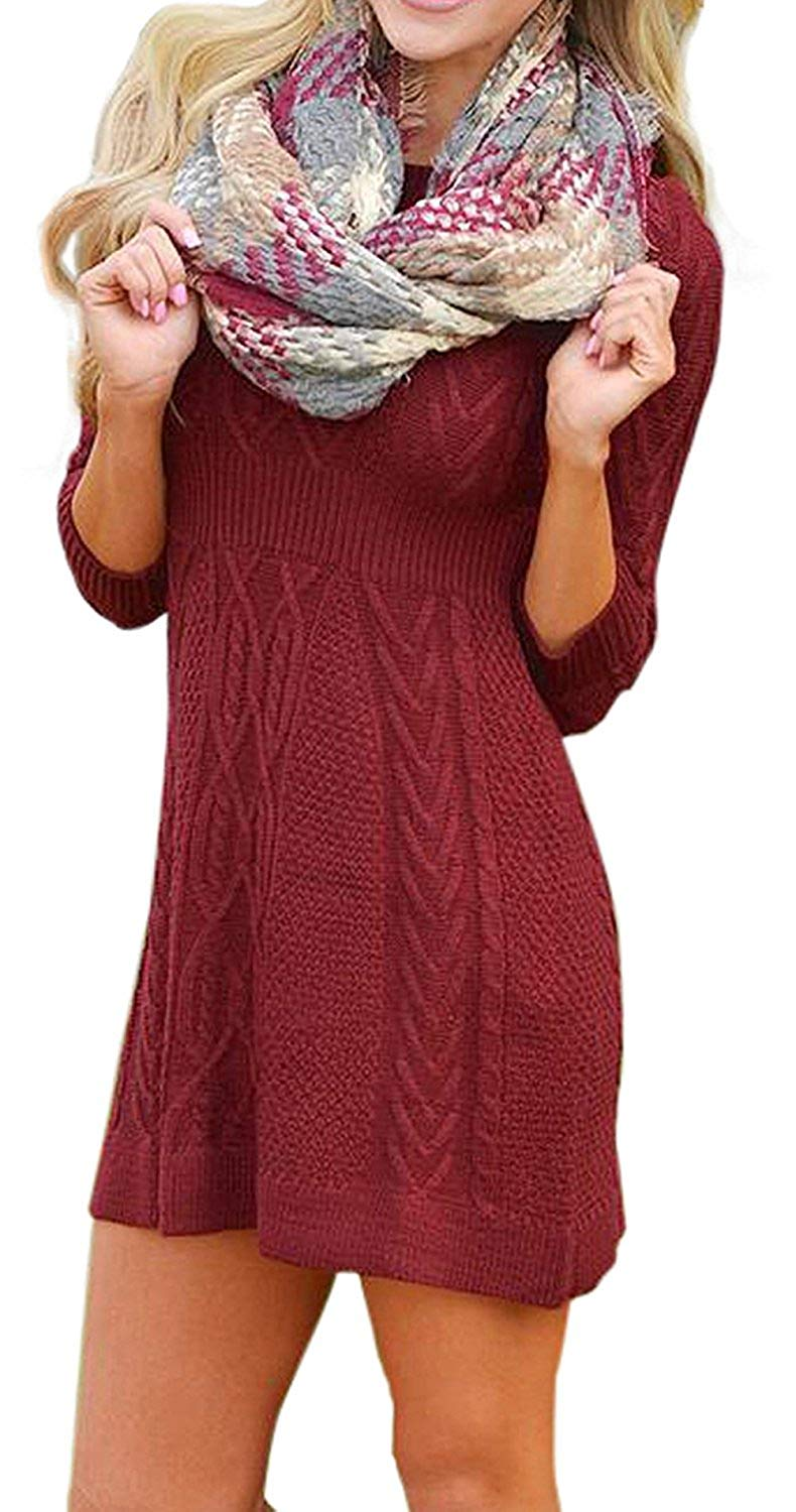 2edbeb9599f Get Quotations · OUR WINGS Womens 3 4 Sleeve Cable Knit Fitted Slim Fitted  Waist Pullover Sweater Dress