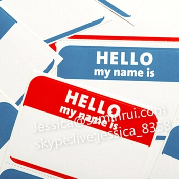 Hot Hello My Name Is Stickers Printing Destructible Vinyl Eggshell Graffiti Customized Design