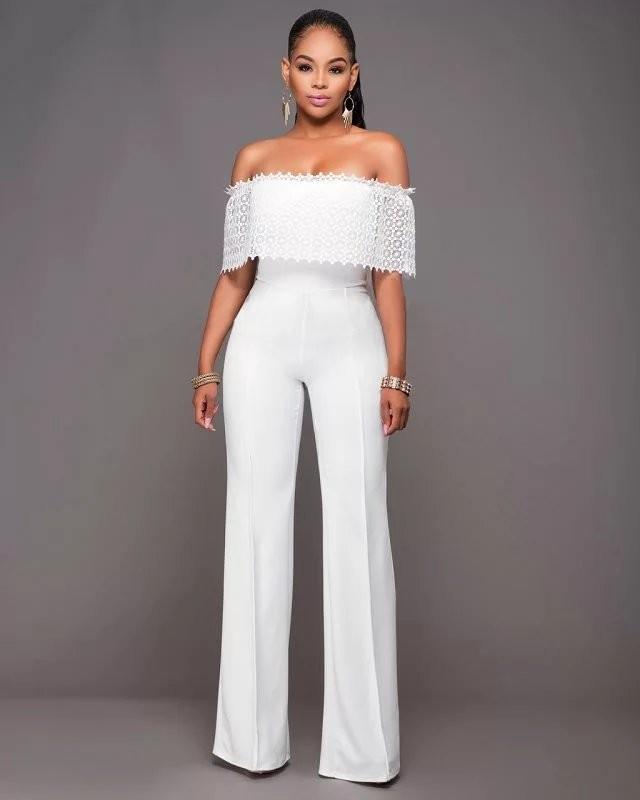 white off shoulder chiffon long pants jumpsuit formal pant. Black Bedroom Furniture Sets. Home Design Ideas
