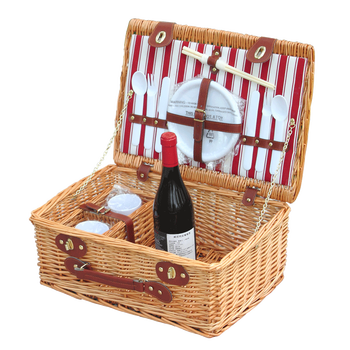 KINGWILLOW, wholesale 2 person wicker picnic basket set with plastic tableware
