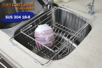Kitchen Basket Adjustable Over Sink Dish Drainer In Stainless Steel