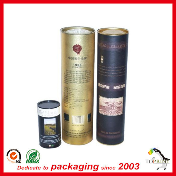 High end wine bottle tube packing customized printing paper packaging manufacturer