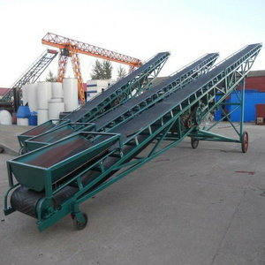 High capacity Sand Gravel Mobile corrugated Belt Conveyor with Hopper