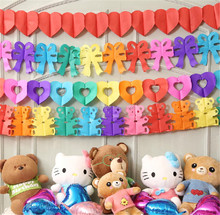 Wholesale Rainbow Full Heart and Hollow out Heart Paper Garland for Proposal