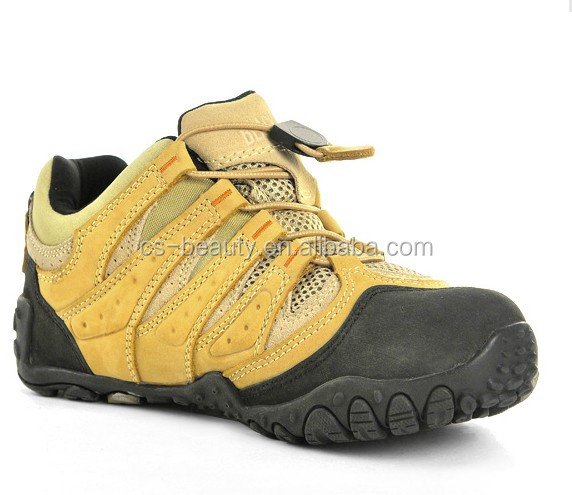 Yellow / Grey Outdoor Leather Tactical Combat Training Shoes Hiking Trekking Boots