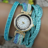 lady braided diamond bracelet watch,aliexpress hot sale gold round wind watch for man and women(PR724)