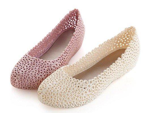 59800a115 Get Quotations · summer shoes for women shallow mouth flat sandals pvc  nurse shoes pink beige color size 36