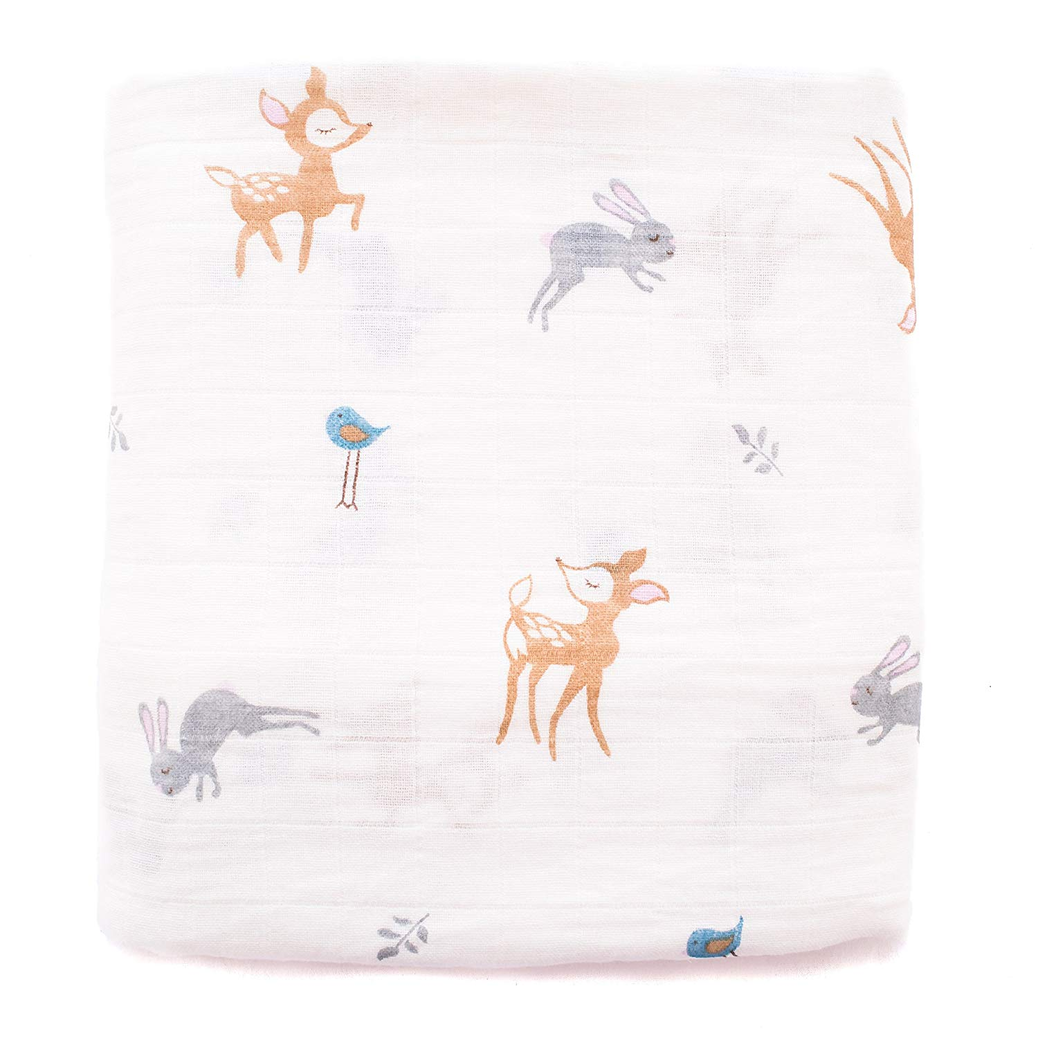 """Premium Muslin Swaddle Blanket, 100% Muslin Cotton, Extra Soft, Large 47"""" x 47"""", Unisex Deer Print, Swaddle wrap for Baby Boys and Girls, Ideal Newborn Baby Shower Gift by Ttam baby"""