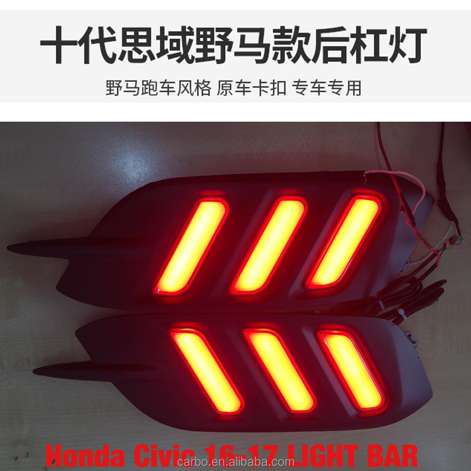 2016 Carbo auto Car Styling led Rear reflector for Honda Civic 2016 led rear bumper light for new civic rear light+brake light