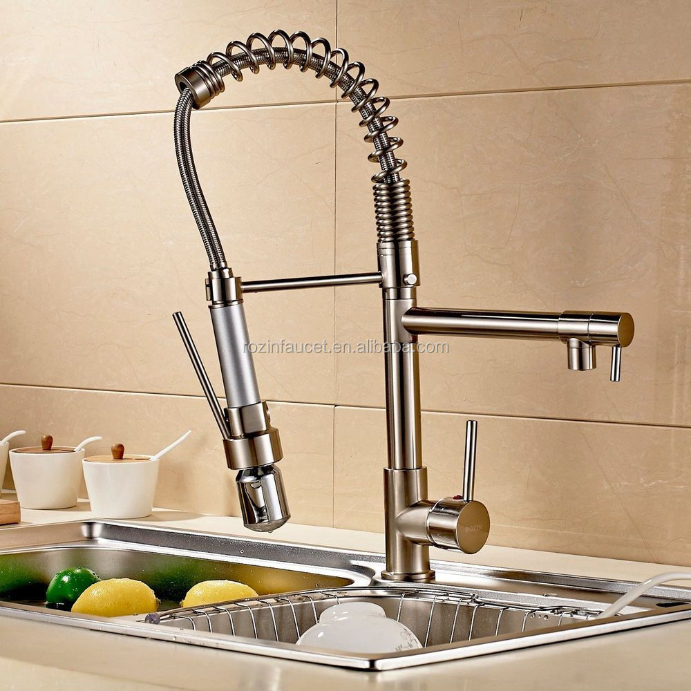 Brushed Nickel LED Colors Kitchen Sink Faucet Pull Down Spray Hot and Cold Mixer Tap