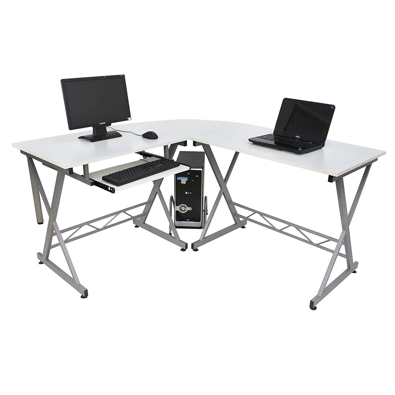 L-Shape New White 3-Piece Corner Computer Office Desk PC Laptop Table Home Workstation