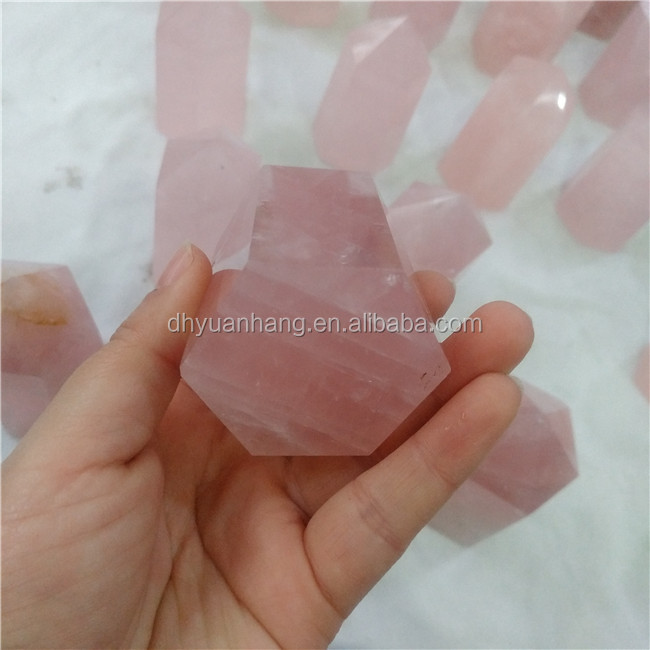 Dumpy natural rose quartz crystal points six side crystal healing wands