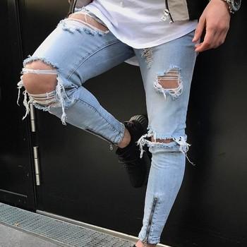 3a54d2e7b2 X83733B 2018 estilo europeo pantalones de mezclilla hombre Jeans rasgados para  hombres roto Pantalones