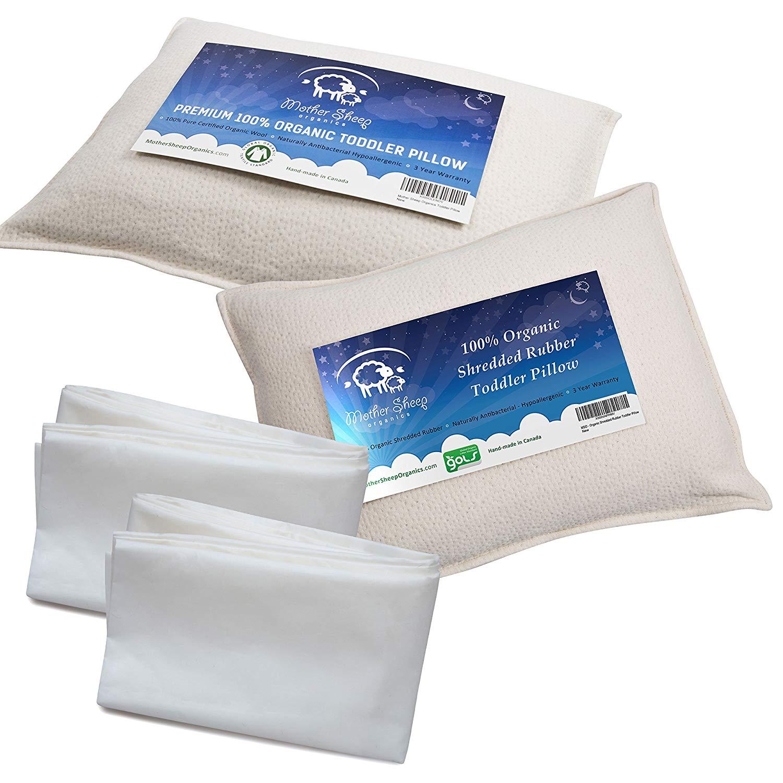 Bundle of 4 items – 1 Organic Wool Toddler Pillow, 1 Organic Rubber Toddler Pillow & 2 Toddler Pillowcases, All Natural 100% GOTS & GOLS Certified Pure Organic & 100% Pure Certified Organic Cotton