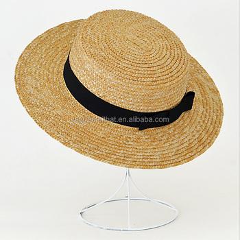 b1d62192b1f3ac wheat braid straw sun beach hats, flat top wide brim lady paper straw hat