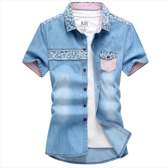 Men's Fashion Jean Material Shirts Slim Fit Short Sleeve Oxford Spinning Material Two Color Male Summer Shirts For Charming Men