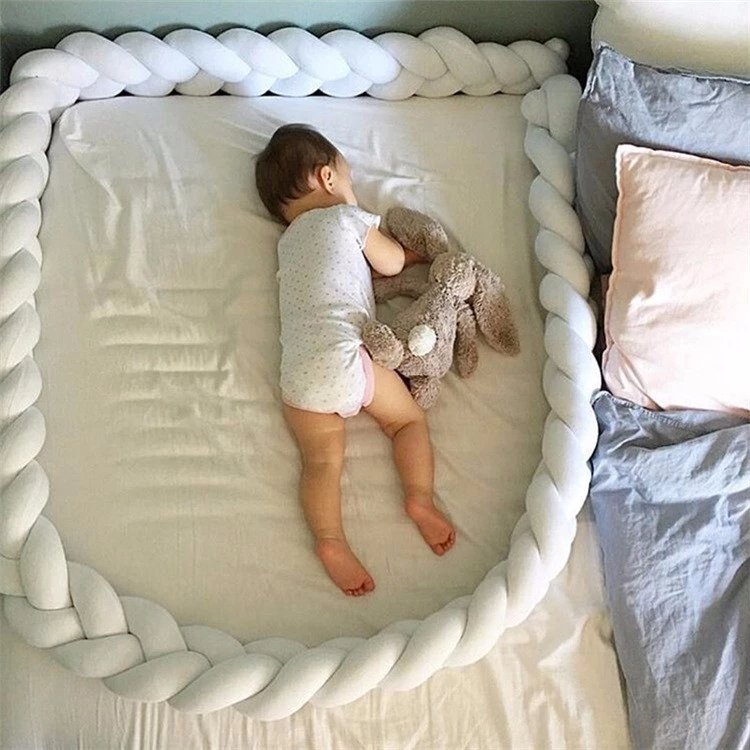 Bebé cuna parachoques bebé barandilla cama parachoques cuna de trenza almohada | Almohadilla de la protección de la seguridad