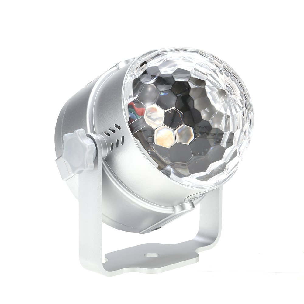 Docooler 8W Mini LED RGBP Multi-colored Magic Ball Light Small Movable Sound Activated Portable USB Powered Lamp Disco Stage Effects for KTV Club Bar Party