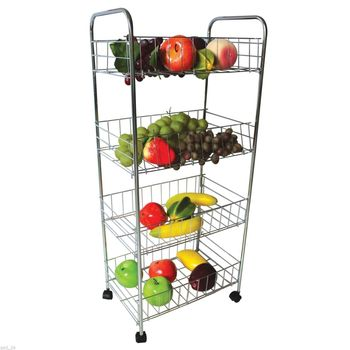 Tier Metal Storage Cart On Wheels (26.5u0026quot;)   Great Rolling Cart  Organizer For