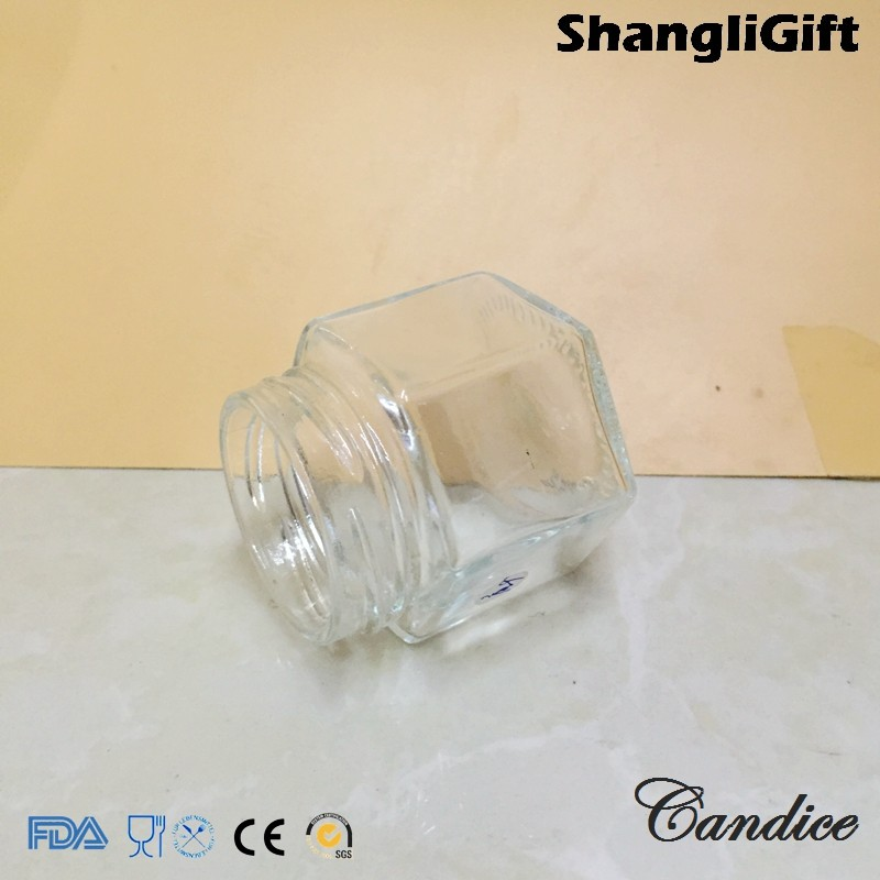 2.5 ozHexagon Glass Jar 70ml Honey/Jam Jar With Screw Lids