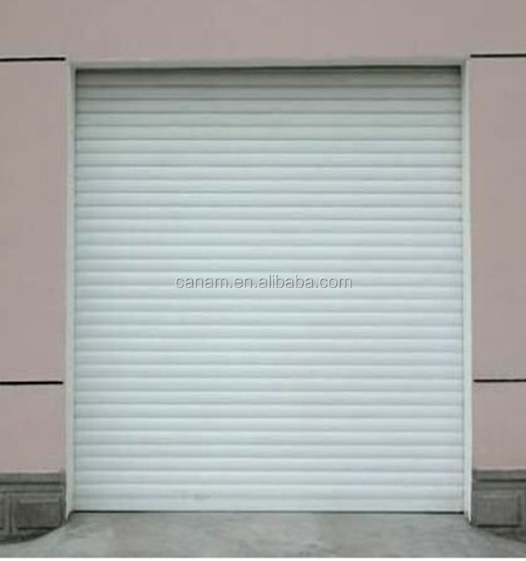Motorized roll up shutter doors with aluminum foam slides