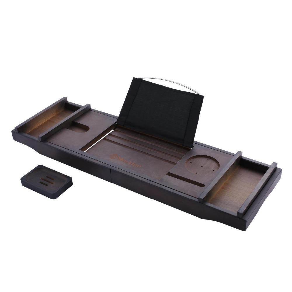 Роскошная Выдвижная Ванна Caddy лотки из натурального бамбука деревянная ванная комната кровать Органайзер лоток