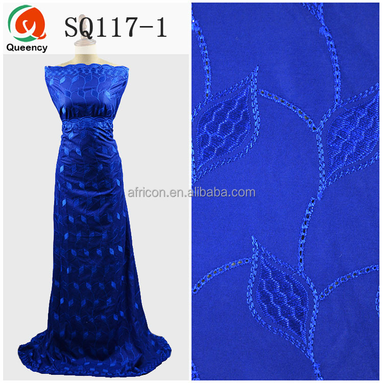 SQ117 Queency Beautiful Royal Blue African Embroidered Swiss Lace Indian Cotton Voile Fabric