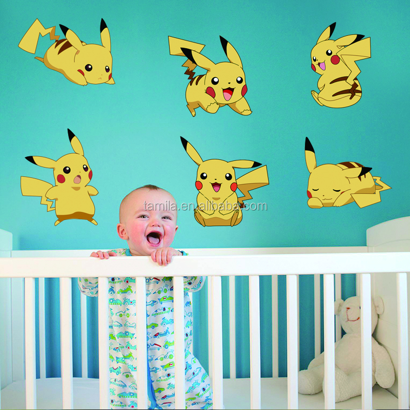 2016 Cartoon Game Pikachu Pokemon Go Wall Stickers For Kids Rooms Children's Gift Wall Decals Poster Nursery Room Decoration