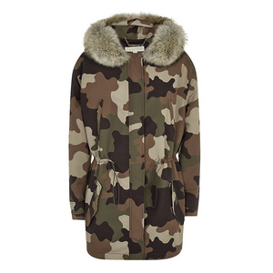 Fashion parka style winter women camouflage coat with faux fur hood trim