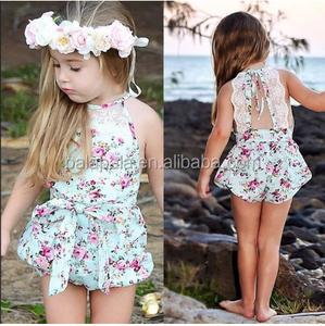 eb5742603656c New Rose Floral Printed Cotton Baby Rompers Vintage Baby Girl Romper Lace  Floral Overalls for Children Baby Clothes